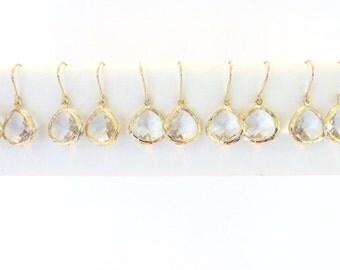 Set of 5 Gold Bridesmaid Earrings Clear Crystal Earrings Gold Earrings Simple Wedding Jewelry Gold Bridal Jewelry Clear Drop Earring