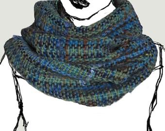 Hand woven neckwarmer - wool, turquoise, light green, blue, brown, orange, cowl