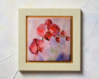Orchid Pink Hand Painted Ceramic Tile Orchid Wall Art Orchid Painting Orchid Watercolor Original Painting decoration Home decor Pink Orchid