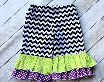 Halloween girls ruffle pants double ruffle pants toddler lome green, purple and black chevron polka dot ruffle pants girls girl outfit set