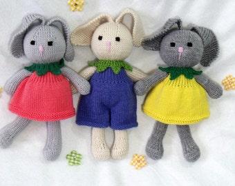 Toy doll bunny knitting pattern. Cuties. Flower bunny.  Floppy ear bunny.  PDF instant download toy knitting pattern.