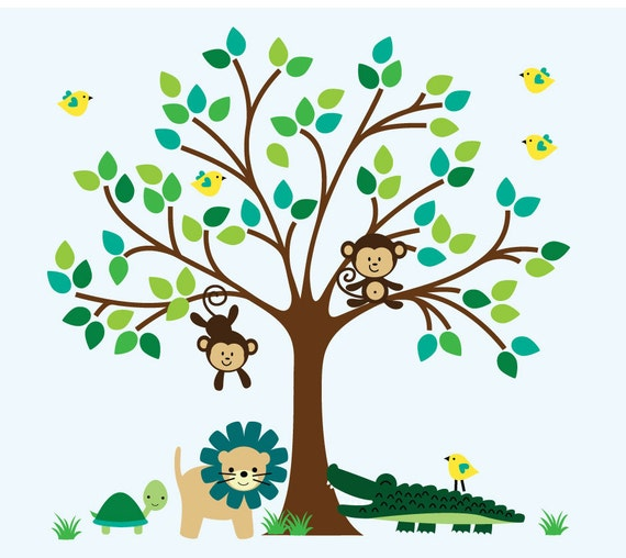 Tree wall fabric decal kids jungle wall decal nontoxic no for Kids jungle fabric