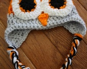 Tennessee Vols Newborn Owl Hat - Orange, Gray and White