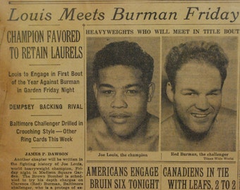 Joe Louis Newspaper Article from 1941