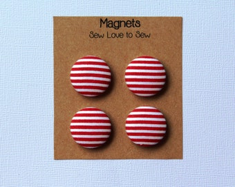 Fabric Covered Button Magnets / Red and White Stripes Magnets / Refrigerator Magnets / Strong Magnets / Red Magnets / White Magnets