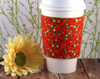 Fabric Coffee Cozy / Green Dots Coffee Cozy / Polka Dot Coffee Cozy / Coffee Cozy / Tea Cozy