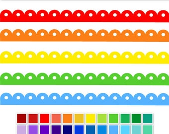 Rainbow Polka Dot Scalloped Border Digital Clip Art - INSTANT DOWNLOAD - 36 colours - digital ribbon