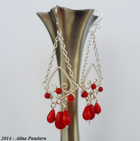 Red Coral Chandelier With 3 Lights: RED CORAL Earrings Chandelier Earrings Wire Wrapped Red