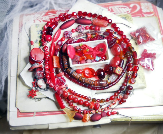 Ecelectic Red Bead & Craft Set - Mixed Beads, Buttons, Cabochons, Fiber - Vintage and New - Glass, Plastic, Stone, Clay - Large Lot