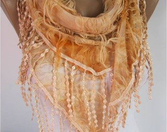 Elegant  Orange  Scarf - Cowl with Lace Edge gift Ideas For Her Women's Scarves- gift- for her -Fashion accessories-scarves