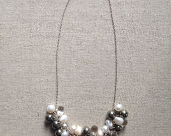 Pearls pyrite and crystal necklace