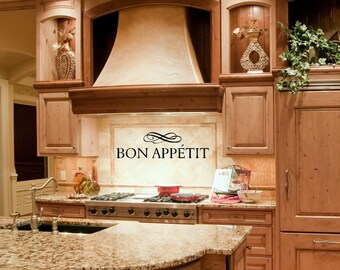 Kitchen Decor - Kitchen Wall Decal -Kitchen Wall Decor - Bon Appetit - Kitchen Decor - Kitchen Wall Sign - Bon Appetit Sign