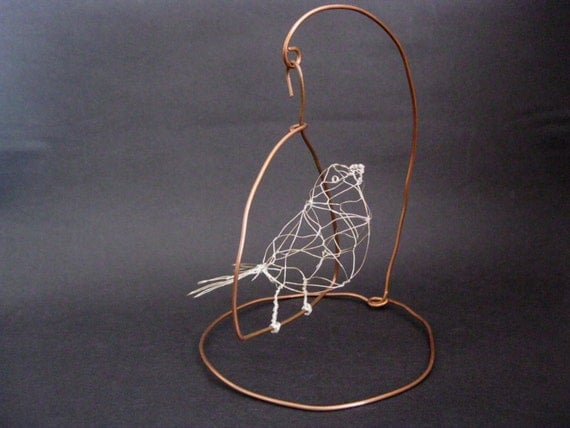 Wire bird pippi with swinging copper stand 3d wire for 3d wire art