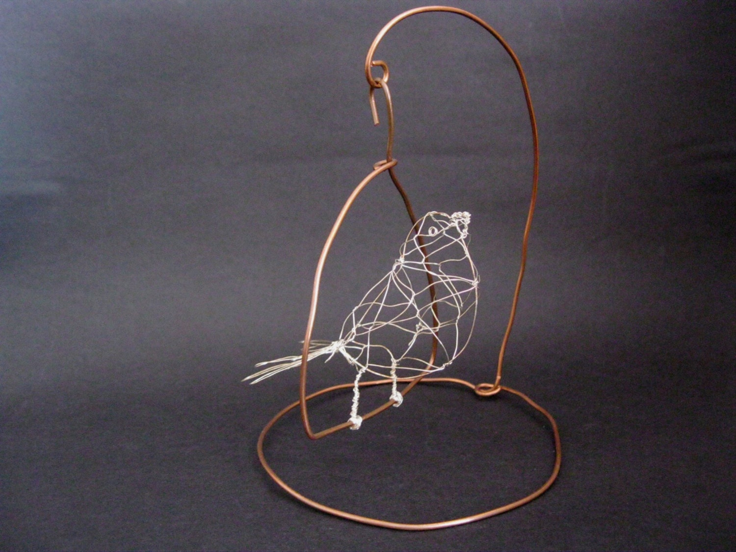 Wire bird pippi with swinging copper stand 3d wire for How to make a 3d bird sculpture