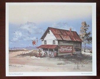 The Past Remembered Four Lithograph Prints by Huey J. Theus Vintage Prints