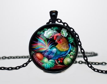 Zhostovo pendant Russian folk necklace Zhostovo Russian folk jewelry