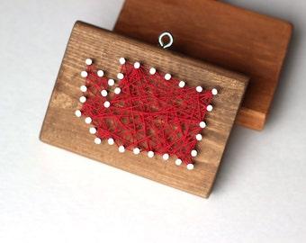 Washington String and Nail Art Rustic Wood Ornament