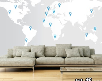 EXTRA LARGE World Map Decal 11ft x 5.7ft / 3.5m x 1.73m  Wall Sticker Vinyl With Pointers