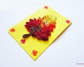 Autumn Quilling Card With Quilled Leave, Autumn Handmade Greeting Card, Fall Leave