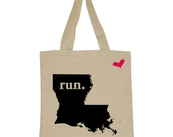 RUN Louisiana Canvas Tote Bag