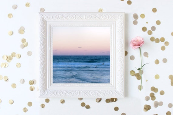 "Beach Photography, Waterscape Fine Art Photo // Sunset Wall Art, Beach Decor, Apartment Decor, Summer Photo, Australia - 8x8"" photo"