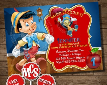 PINOCCHIO INVITATION, Pinocchio, Pinocchio Birthday Party, Invitation, Kids Invitation, Birthday Party Invitation, My Celebration Shoppe