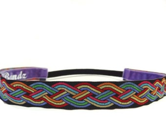 non slip headband Rainbow celtic knot - goes with everything