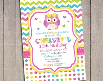 Owl Invitation / Birthday Owl Invitation / 1st Birthday Owl Invitation / Chevron Owl Birthday Invitation / First Birthday Owl Invitation