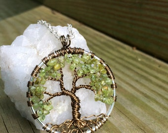 Tree Jewelry Tree Of Life Necklace Green Peridot Gemstone Pendant Dark Brown Trunk On Silver Chain Wire Wrapped  Jewelry August Birthstone