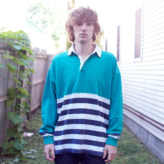 Vintage Valiant Rugby Shirt In Ultramarine Gold: Vintage Striped Rugby Polo Shirt By PaxSuburbiaVintage On Etsy