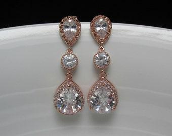 pink gold bridal earrings , pear bridal earrings , rose gold wedding earrings , rose gold drop earrings , long rose gold earrings , bridal
