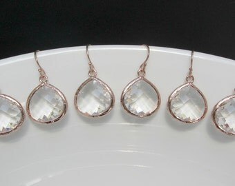 set of 4 bridesmaids earrings , rose gold bridesmaids sets , set of 5 bridesmaids earrings , bridesmaids gifts , set of earrings , bridal
