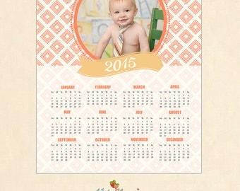 INSTANT DOWNLOAD - 8x10 Calendar template 2016 - CAL004