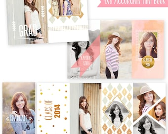 INSTANT DOWNLOAD Senior Accordion Book Photoshop Template 4x8 - A021