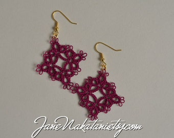 tatting lace earrings -Boysenberry-