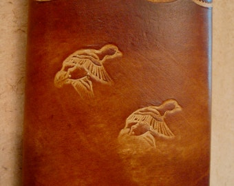 Tooled Brown Leather Trifold Wallet - Duck Fowl Pattern