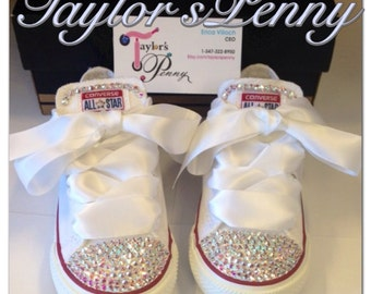 Infant/ Toddler Converse  (All Star) Customized with AB Swarovski crystals/ Bling Kicks/ Personalized Converse/ White Converse