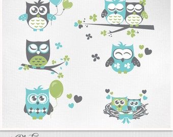 Owls Cute Digital Clipart for scrapbooking, Clipart, Graphics - grey blue lime  love owls - Instant Download - Eps and PNG files