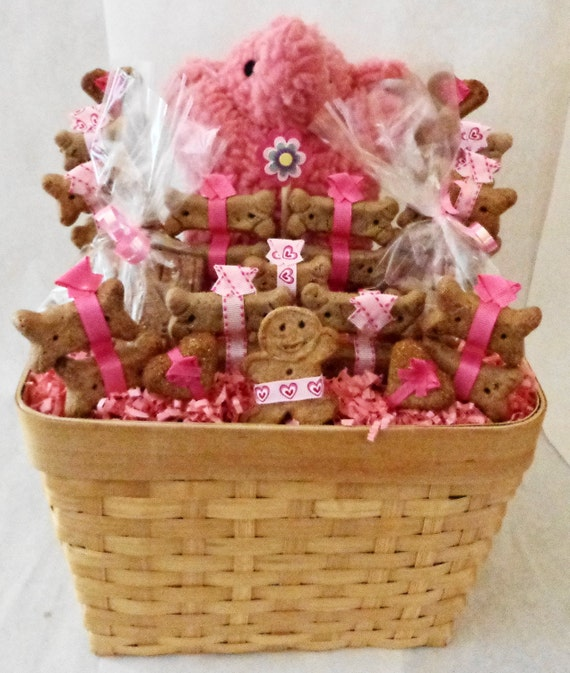 Dog Birthday Gift Baskets : Dog biscuit treat gift basket with pink elephant squeak
