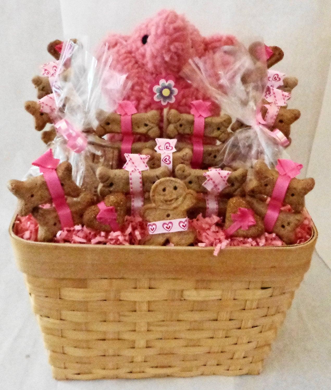 Etsy Dog Gift Baskets : Dog biscuit treat gift basket with pink elephant squeak