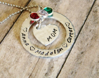 Personalized mom jewelry-Mom hand stamped jewelry- necklace- personalized necklace- custom jewelry- child's name-custom mom necklace