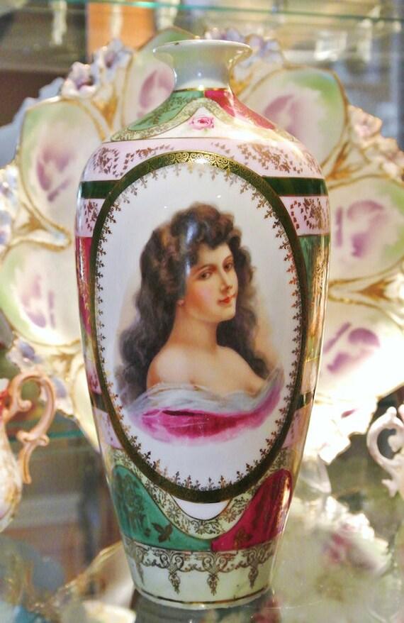 Antique Austria Porcelain / Portrait Vase / 1800s Vase / Porcelain Hand Painted Beehive Mark Vase