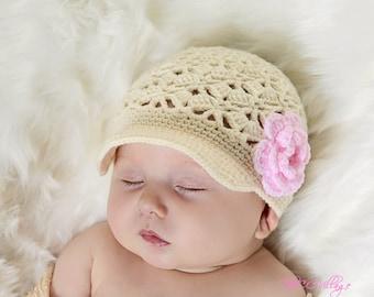Cream Crochet Baby Hat, Crochet Girl Hat, handmade Cap for children, newborn Beanie, with pink flower
