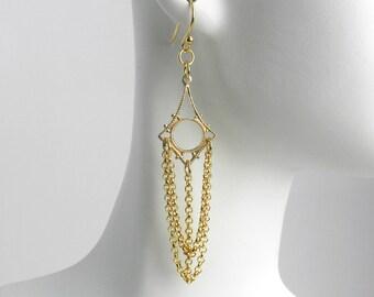 Gold Chain Chandelier Earrings, Chandelier Chain Earrings