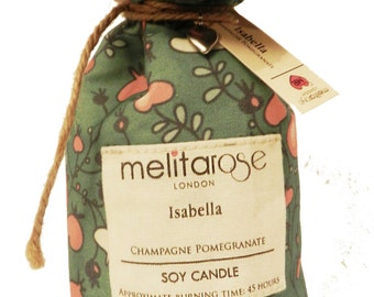 Champagne Pomegranate Soy Scented Candle in Beautiful Gift Bag