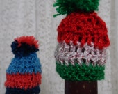 Crochet Wine Topper/Cozy Mini Hat and Scarf for Wine bottles! PERFECT gift for the Holidays and Birthdays!