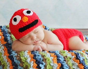Crochet Red Monster Hat and Red Diaper cover set  Boy or Girl  preemie newborn, 0-3 month, 3-6 month