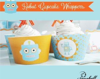 Robot Cupcake Wrappers for robot theme birthday party. INSTANT DOWNLOAD printable design for baby or little boys. In 2 designs!