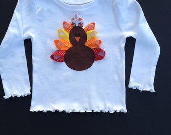 Girl Thanksgiving Outfit - First Thanksgiving - Baby, Infant, Toddler or Girls  - Ribbon Turkey