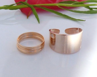 Rose gold jewellery ,Rose Gold Rings Combo - set of  6 rings, midi rings, Stacking rings, knuckle rings bands, cuff ring, unique gift.